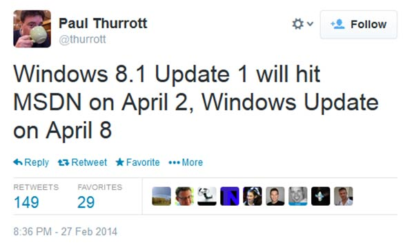 Microsoft Windows 8 1 Update 1 to be released on 8th April