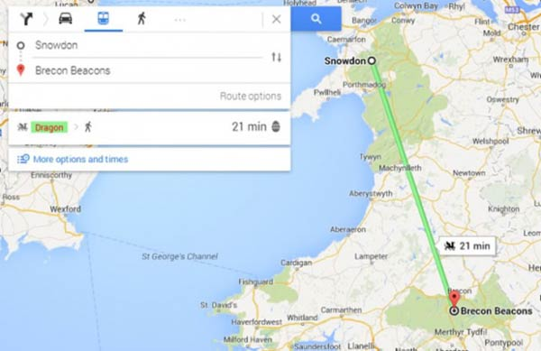 Welsh Google Maps \'Easter Egg\' shows travel time via Dragon ...