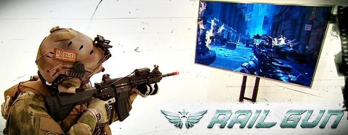 Use your own airsoft gun in FPS games with a RAIL GUN