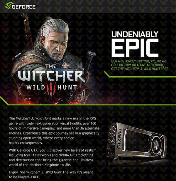 Nvidia to bundle The Witcher 3: Wild Hunt with GTX 900(M