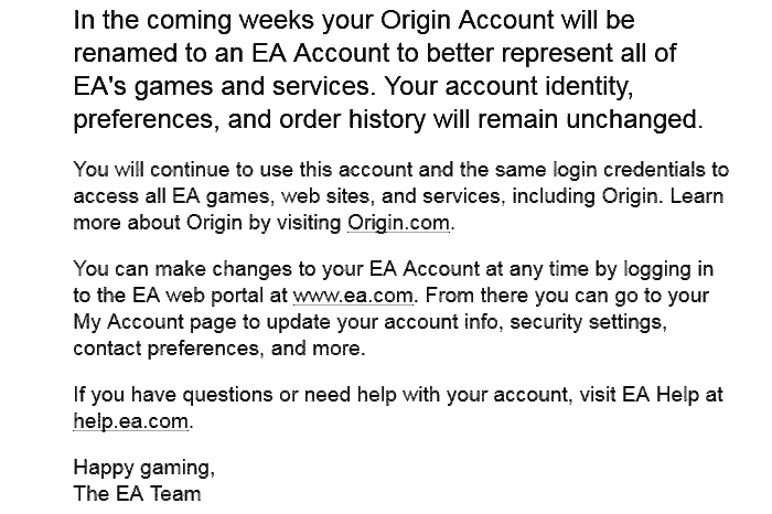 EA Accounts to replace Origin Accounts in the coming weeks
