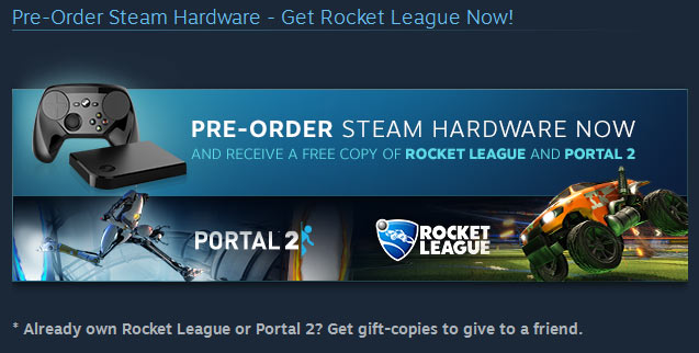Pre-purchase Steam hardware to get Rocket League, Portal 2 free