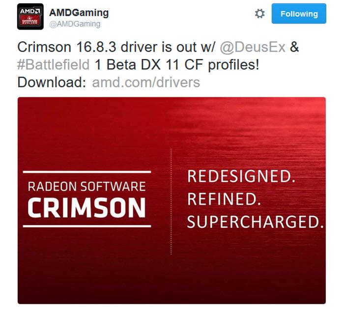 AMD Radeon Software Crimson Edition 16 8 3 released - Graphics