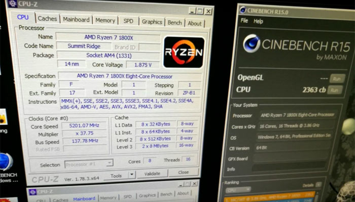 AMD Ryzen CPU pushed beyond 5 2GHz on all 8 cores (video