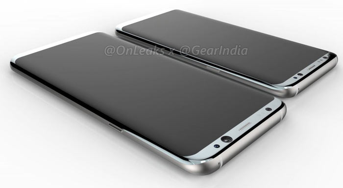 99595b9d9d2f7 Pictures of the new Galaxy S8 smartphones have been published by both   evleaks (top) and  onleaks (above). The regular and plus models will sport  fairly ...