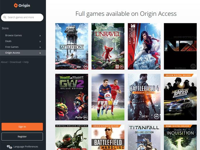 origin access basic games