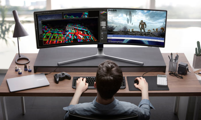 Samsung unveil 49-inch curved computer monitor