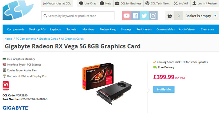 AMD Radeon RX Vega 56 8GB listed by UK retailer - Chassis - News