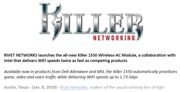 Rivet Networks launches the Killer 1550 Wireless-AC Module - Network
