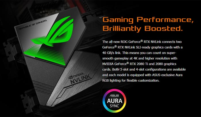 Asus ROG releases GeForce RTX NVLink with Aura Sync RGB