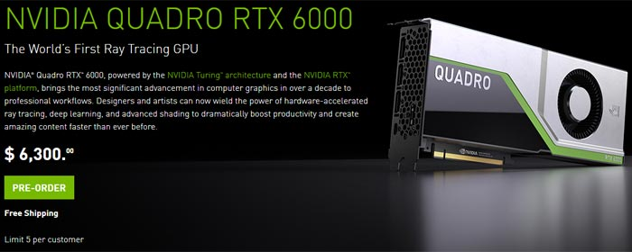 Pre Orders Open For Nvidia Quadro Rtx 5000 And Rtx 6000 Graphics News Hexus Net