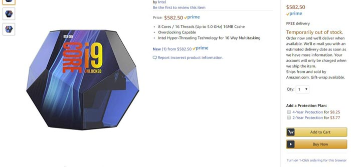 Intel Core i9-9900K listed on Amazon US for $582 50 - CPU