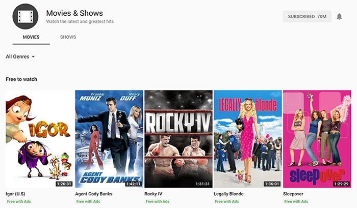 free movie list on youtube