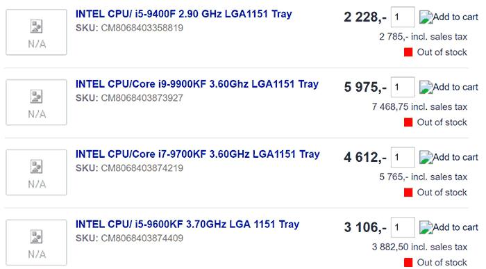 Intel Core i9-9900KF, i7-9700KF, i5-9600KF, i5-9400F CPUs