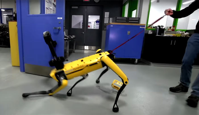Boston Dynamics' SpotMini leads the robot resistance against human bullies