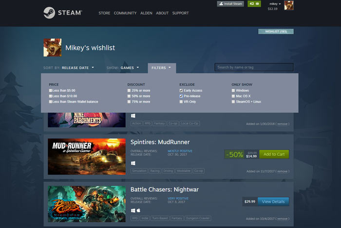 The Steam Lunar Sale is underway as Valve adds new Wishlist features