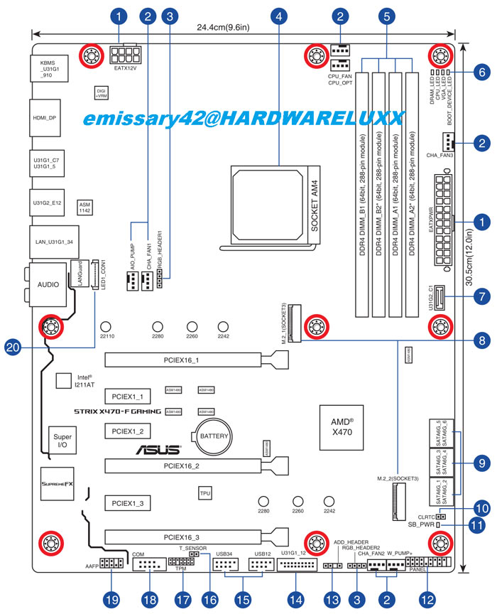 asus x470 motherboard manual shared on forum mainboard news rh hexus net ATX Motherboard Mounting Holes ATX Motherboard Mounting Holes