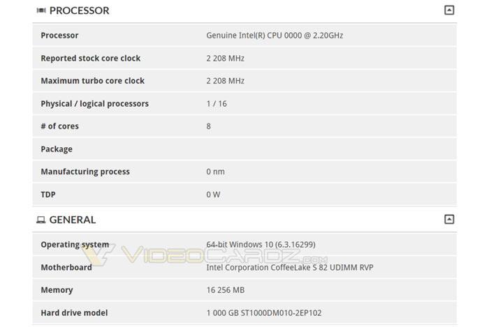 Octa Core Intel Coffee Lake S Processor Spotted