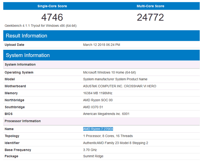 AMD Ryzen 7 2700X appears on Geekbench - CPU - News - HEXUS net