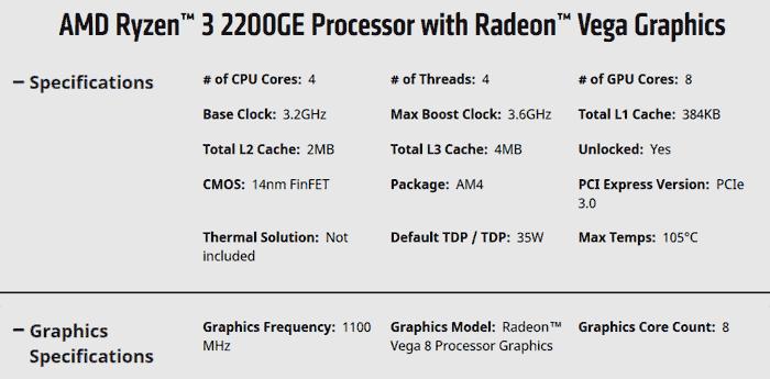 Amd Adds Energy Efficient Ryzen 3 2200ge Ryzen 5 2400ge Apus Cpu