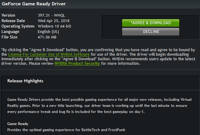 Download: Nvidia GeForce 397.31 WHQL drivers