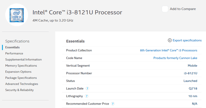 Intel Core i3-8121U 10nm processor hits ARK database - CPU