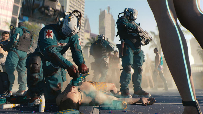 Cyberpunk 2077 has dismemberment, and you can blow your enemies' legs off