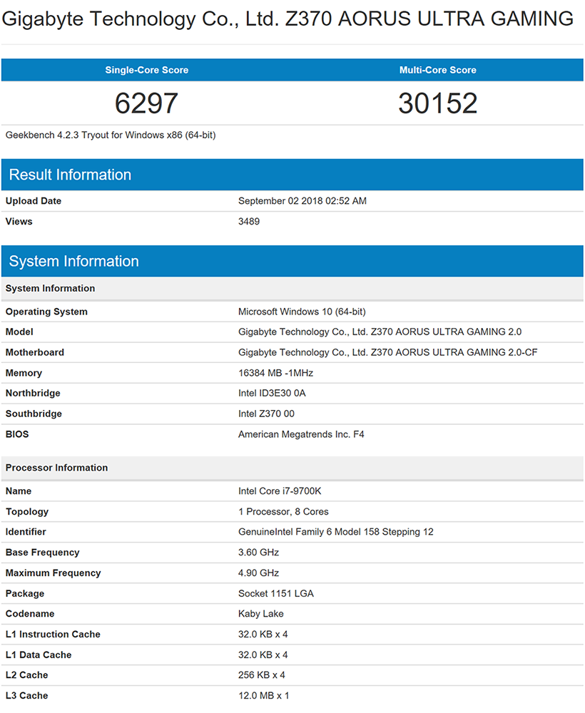 Here's what the Intel Core i7-9700K scores in Geekbench