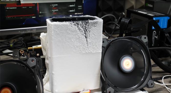 Der8auer overclocks a GeForce RTX 2080 using dry ice