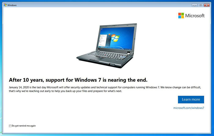 Microsoft Will End Support for Windows 7