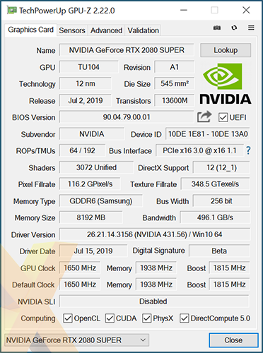 Review: Nvidia GeForce RTX 2080 Super Founders Edition - Graphics