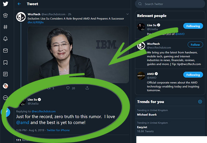 AMD CEO Dr Lisa Su denies she has plans to move to Big Blue