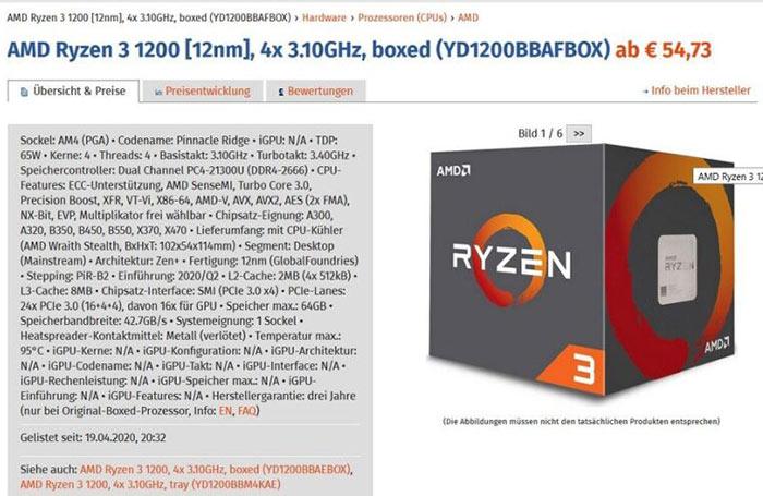 Amd Updates The Ryzen 3 1200 With 12nm Zen Cores Cpu News Hexus Net
