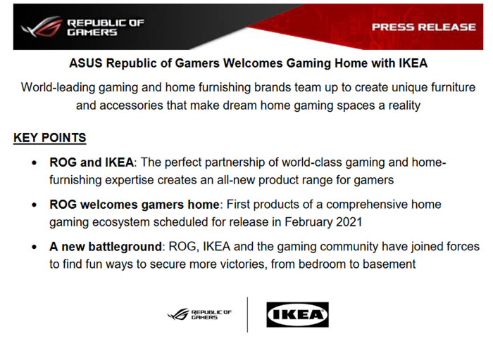 IKEA Teams Up With ASUS ROG to Develop Affordable Gaming Furniture""
